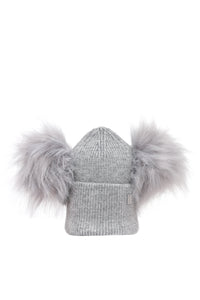 Plush Double Pom Hat - Grey