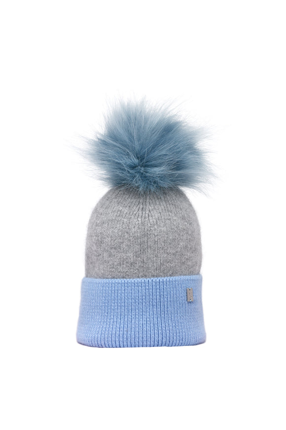 Plush Pom Hat - Blue & Grey
