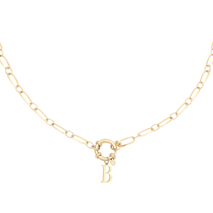 Linked Initial Necklace - 14K Gold Plated