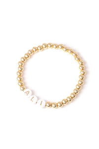 Personalised Friendship Bracelet Gold - Gold & White