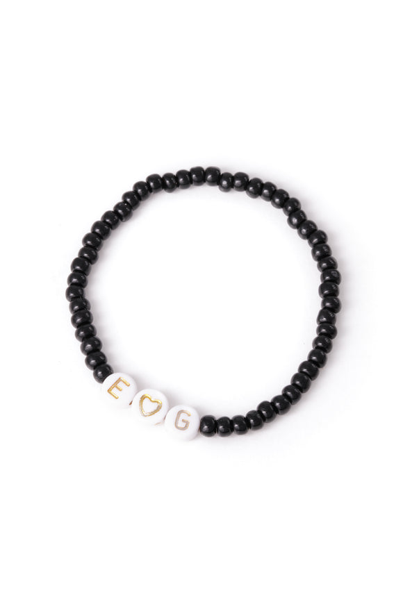 Personalised Candy Bracelet Black - Gold & White