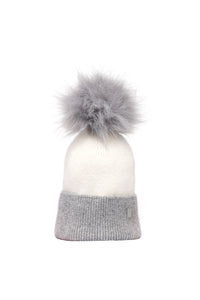 Grey & Cream Plush Pom Hat