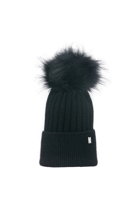 Plush Pom Hat - Black