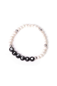 Personalised Candy Bracelet Pearl - Black & Silver