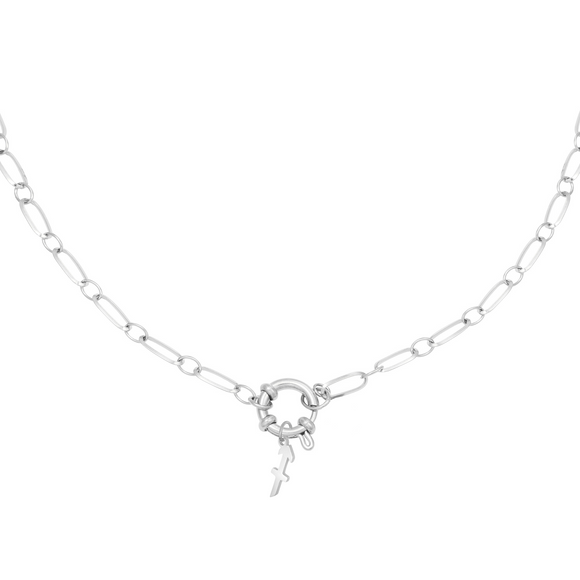 Linked Star Sign Necklace - Platinum Plated