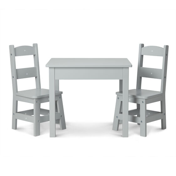 Wooden Table & 2 chairs - Gray
