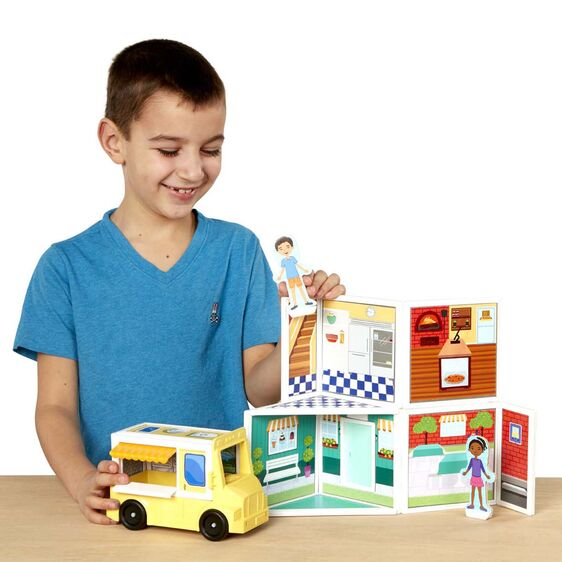 Melissa and Doug Magnetivity Magnetic Building Play Set - Pizza & Ice Cream Shop