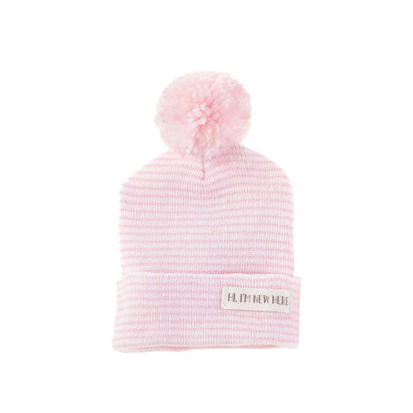 Mud Pie  Newborn Pom Pom Hat, Blue or PINK Stripe