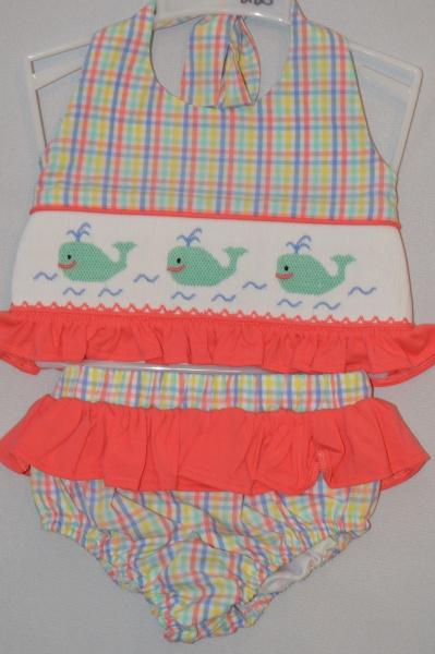 BANANA SPLIT WHALE OF A TIME SMOCKED SWIMSUIT