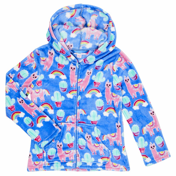 Candy Pink Fleece Llama Hoodie Jacket
