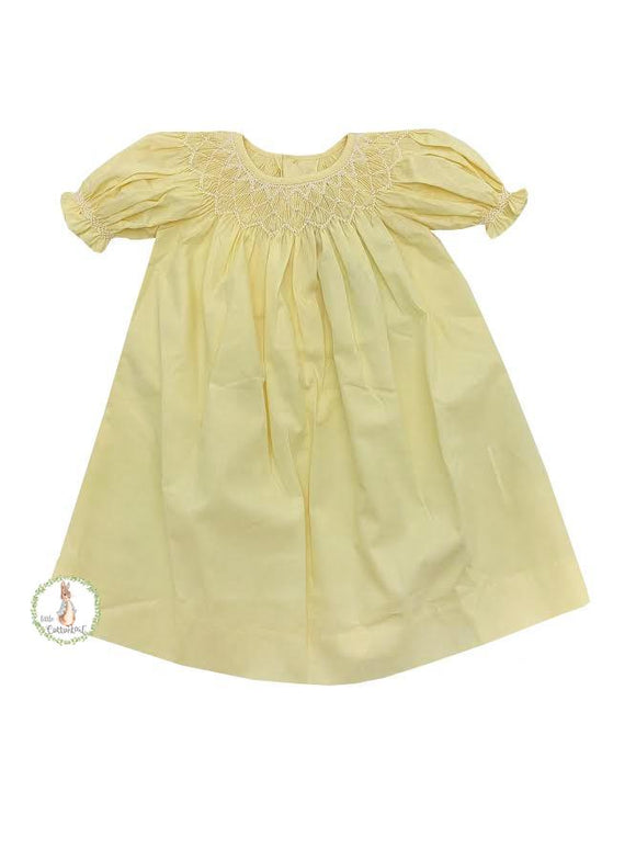 Mom & Me Yellow Pearl Smocked Dress