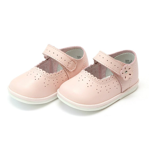 L'Amour Shoes Scalloped Leather Mary Jane (Baby & Toddler)