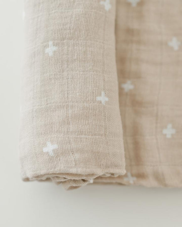 Little Unicorn Cotton Muslin Swaddle Blanket - Taupe Cross