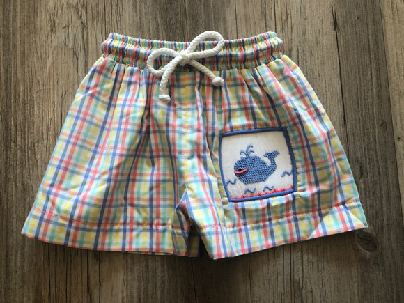 BANANA SPLIT WHALE OF A TIME SMOCKED swim trunks