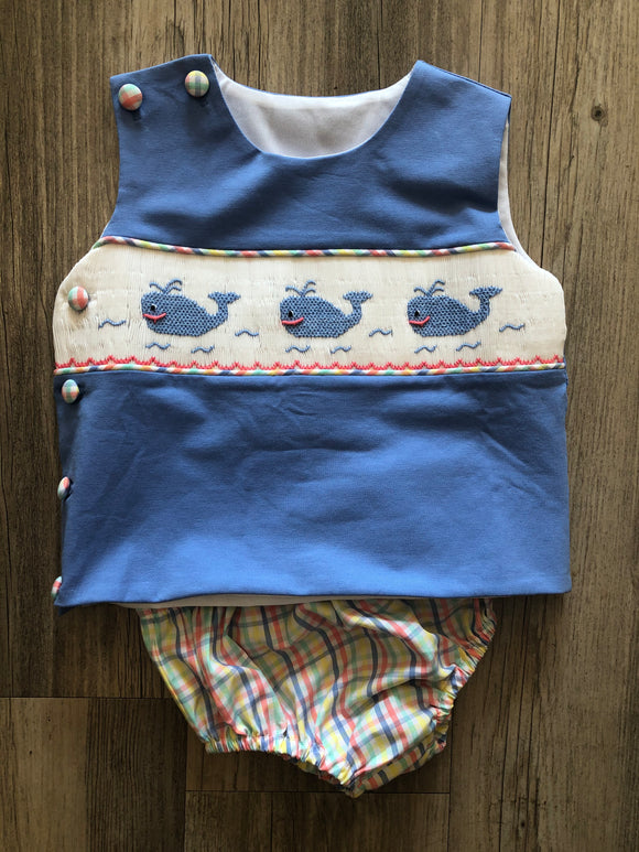 BANANA SPLIT WHALE OF A TIME SMOCKED Boys Diaper Set