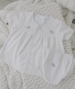 Little English Blue Sheep Knit Diaper Set
