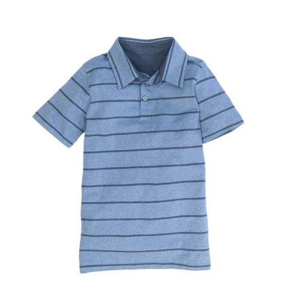 Southern Proper BOYS - COVINGTON POLO: HEATHER PROPER DENIM STRIPE