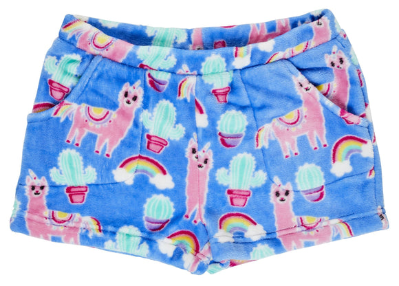 Candy Pink Fleece Llama Shorts