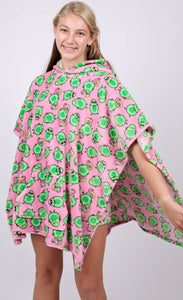Candy Pink Fleece Avocado Poncho