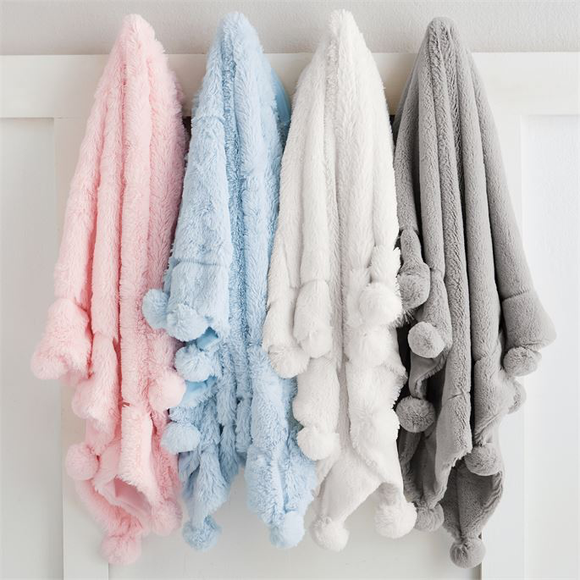 Mud Pie PLUSH POM-POM BLANKET