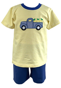 Ishtex Tara Collection Lemon Truck Appplique Short Set