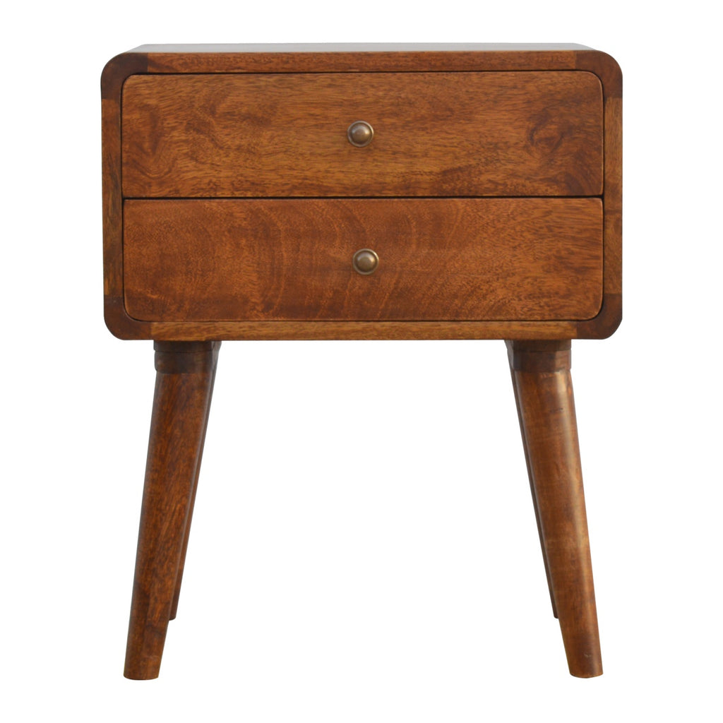 Solid Wood Curved Mid Century Modern 2 Drawer Bedside Table