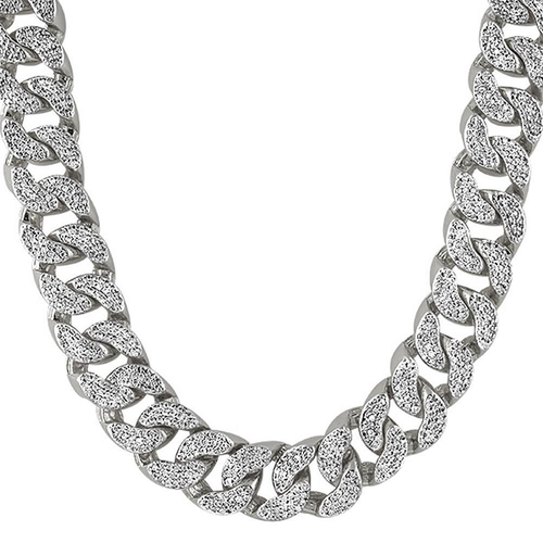 22MM Thick Rhodium CZ Cuban Chain