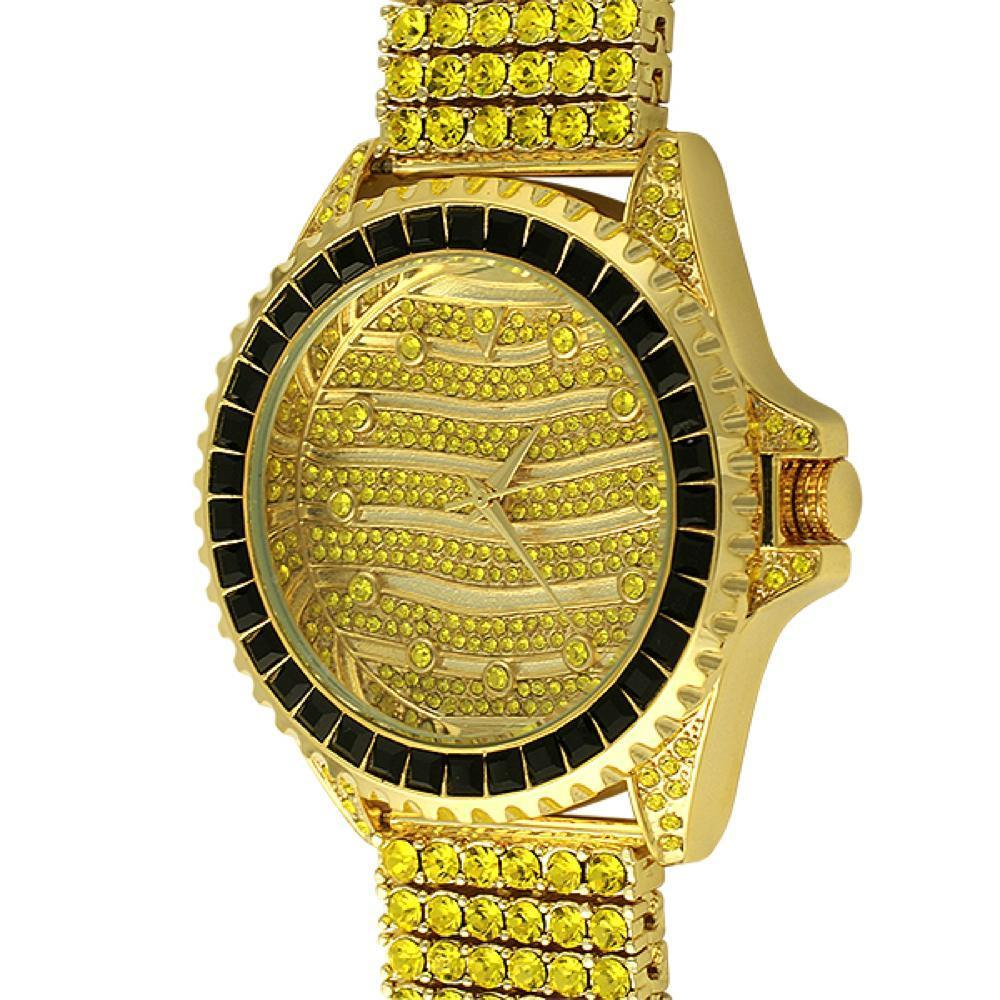 CZ Wavy Lemonade Custom Watch  6 Row Band
