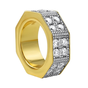 Double Row CZ Octagon Gold Ring