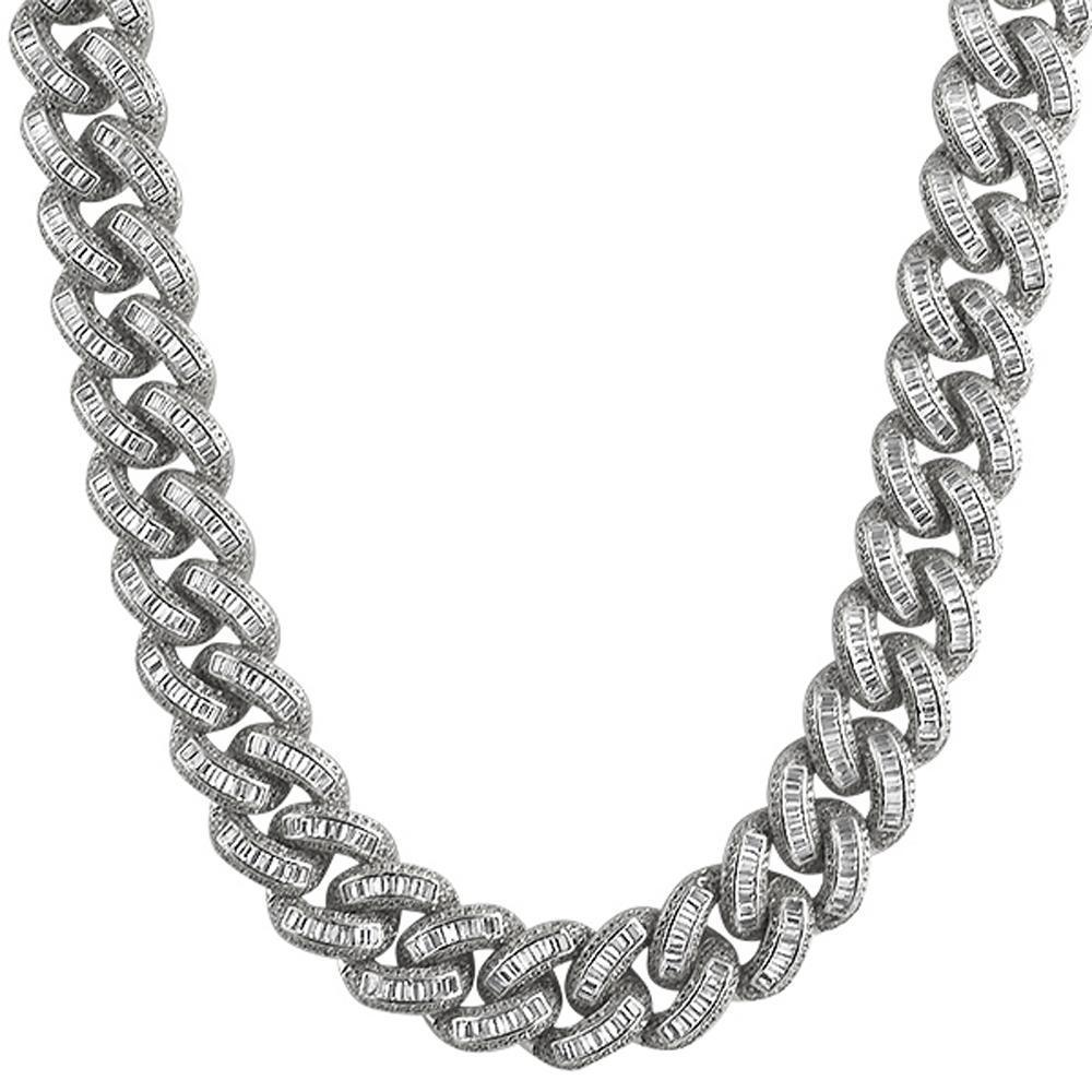 .925 Sterling Silver Baguette CZ 17MM Cuban Chain Rhodium