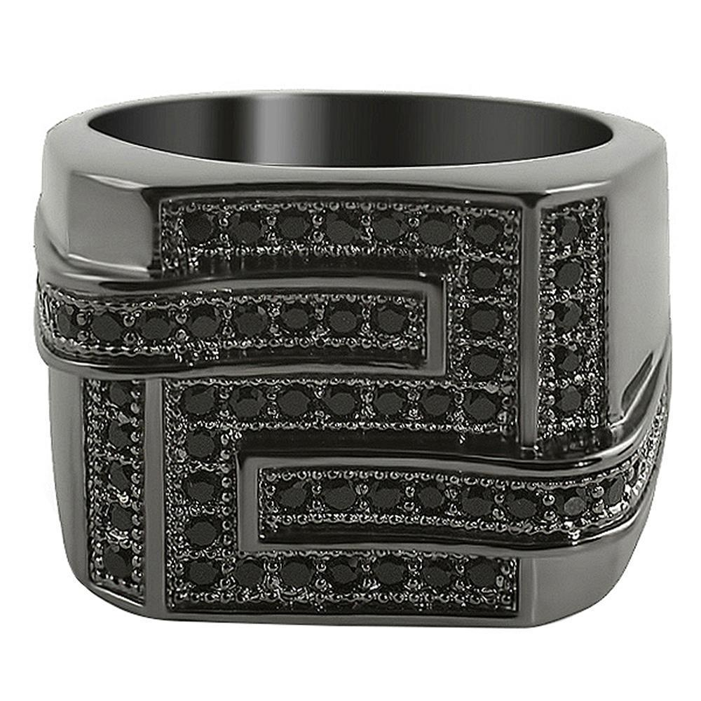 All Black Maze CZ Micro Pave Ring