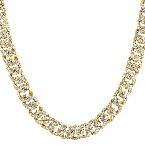 .925 Sterling Silver CZ 10MM Cuban Chain Gold
