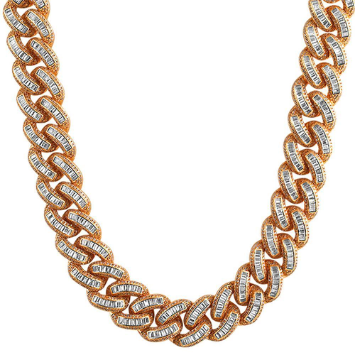XL Baguette CZ Rose Gold Cuban Chain