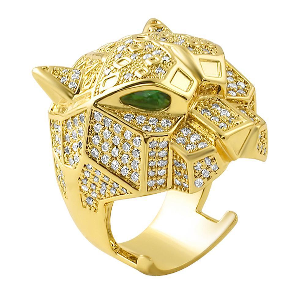 3D Tiger Micro Pave Gold CZ Ring