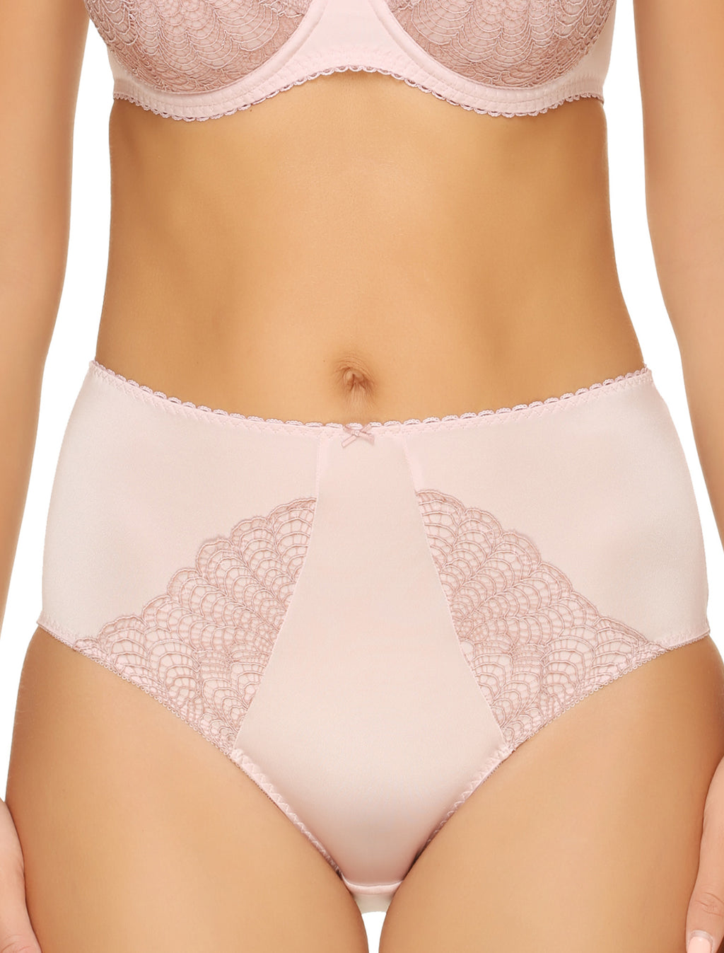 Lauma, Pink High Waist Panties, On Model Front, 02H51