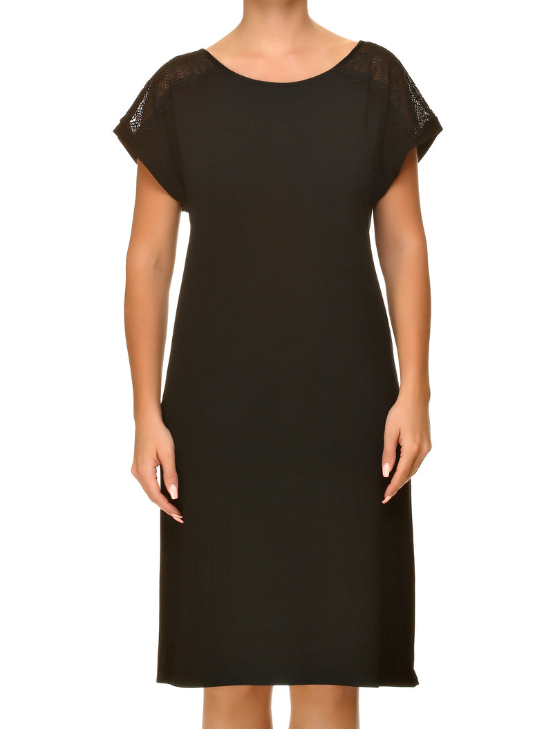 Lauma, Black Viscose Night Dress, On Model Front, 02H91