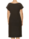 Lauma, Black Viscose Night Dress, On Model Back, 02H91