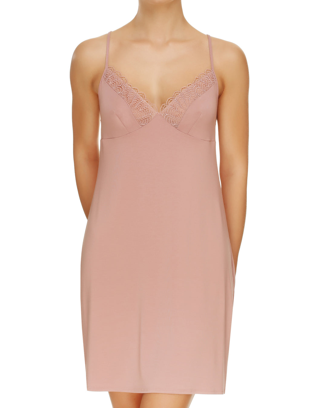 Lauma, Pink Viscose Night Dress, On Model Front, 02H91