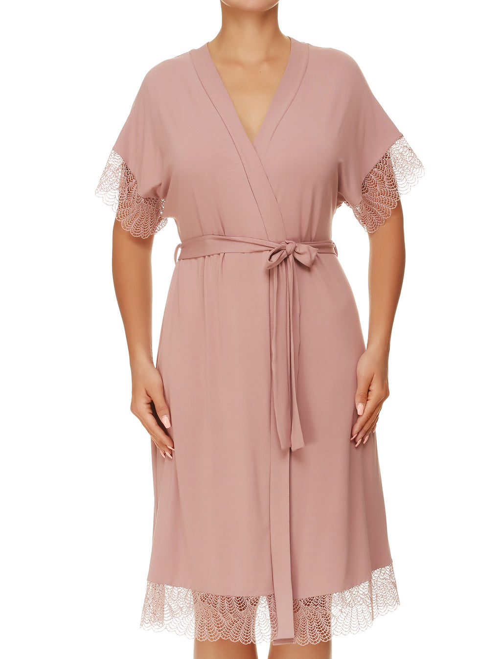 Lauma, Pink Viscose Dressing Gown Robe, On Model Front, 02H98
