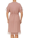 Lauma, Pink Viscose Dressing Gown Robe, On Model Back, 02H98