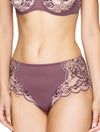 Lauma, Violet Lace Mid Waist Panties, On Model Front, 03J50