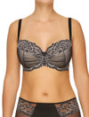 Lauma, Black Half-padded Lace Bra, On Model Front, 04H40