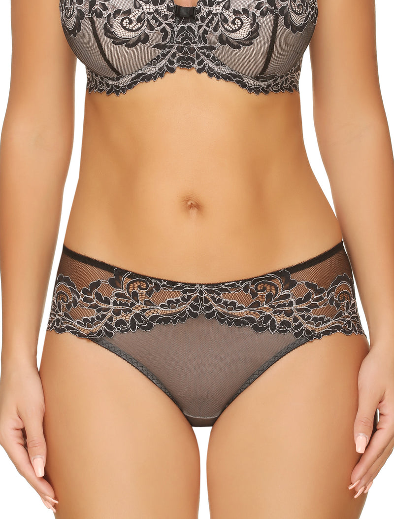 Lauma, Black Mid Waist Lace Panties, On Model Front, 04H53