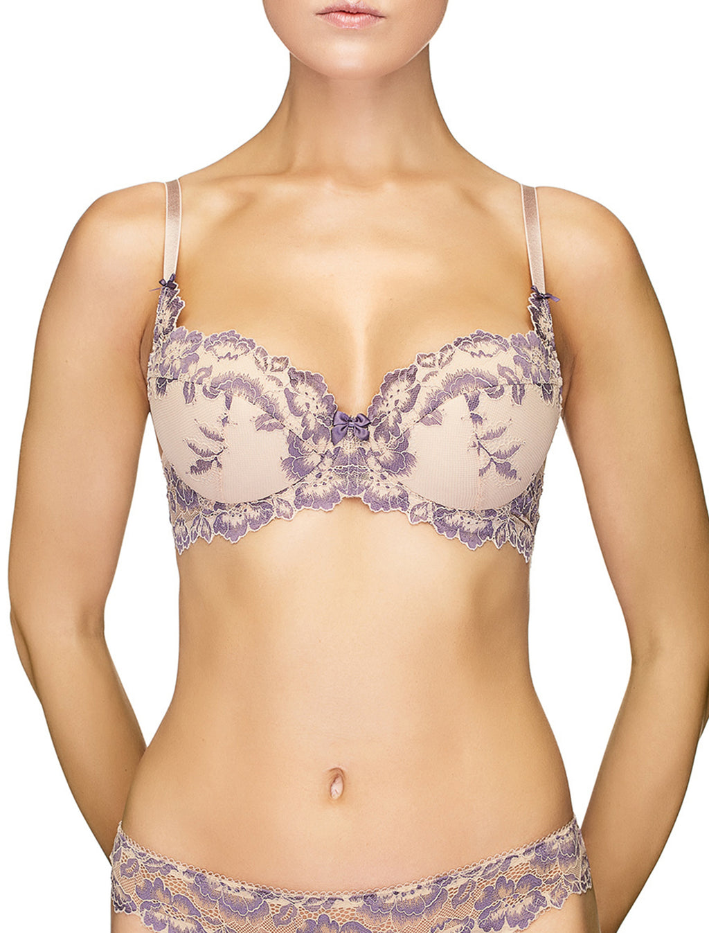 Lauma, Nude Lace Push-Up Bra, On Model Front, 04J15
