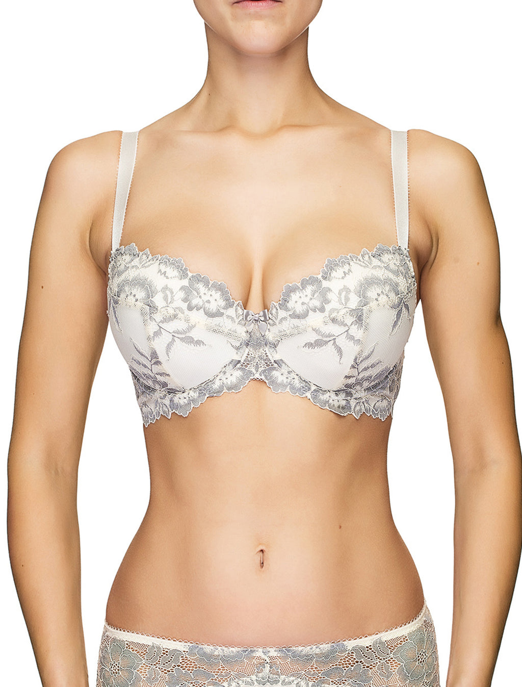 Lauma, Ivory Lace Push-up Bra, On Model Front, 04J16