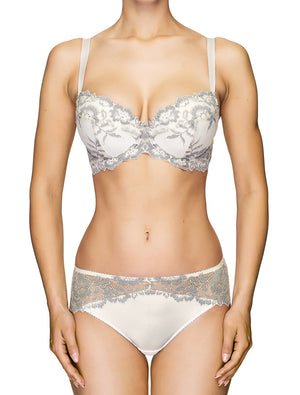 Lauma, Ivory Mid Waist Lace Panties, On Model Front, 04J50