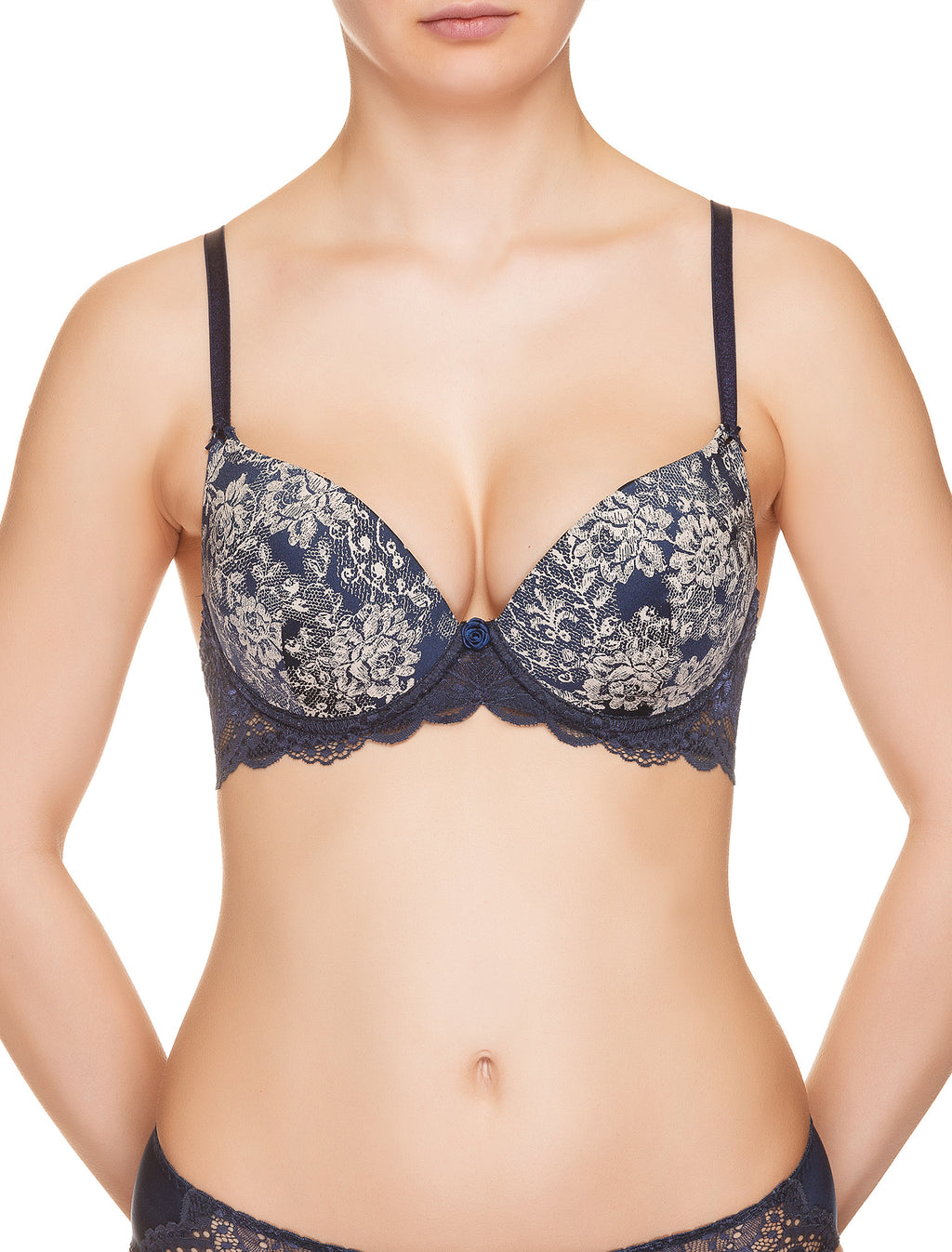Lauma, Blue Moulded Push Up Bra, On Model Front, 08H35