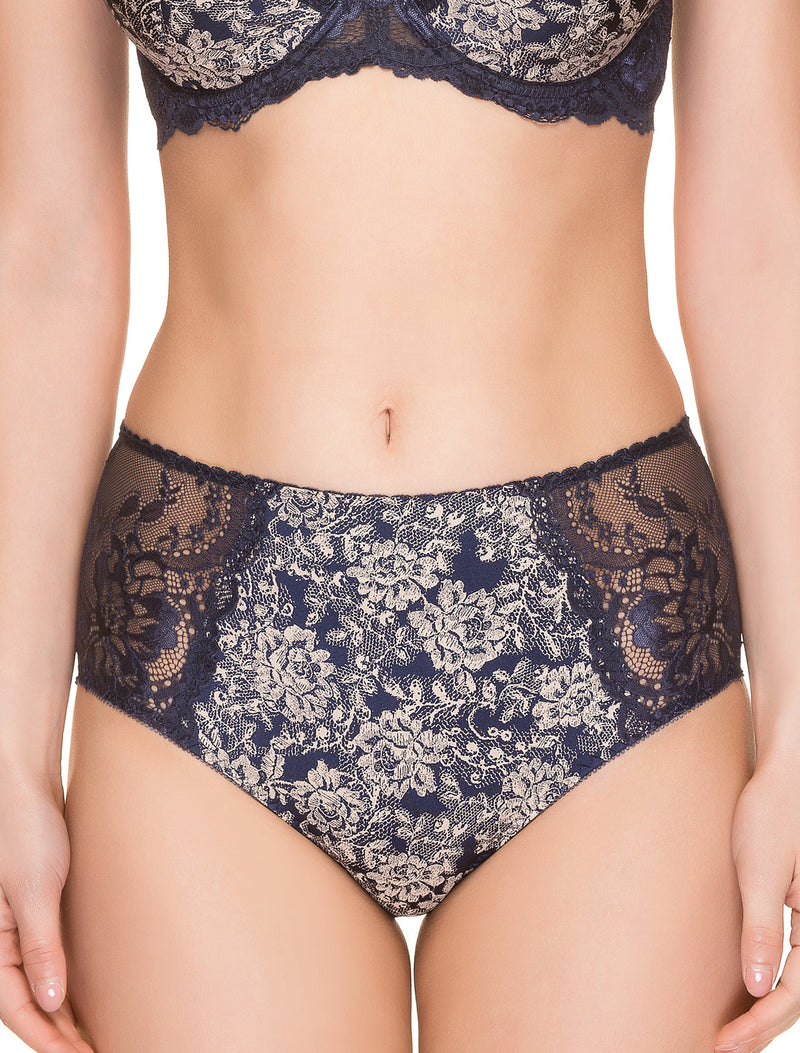 Lauma, Blue High Waist Panties, On Model Front, 08H51