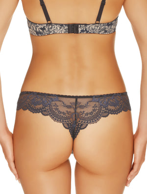 Lauma, Blue Mid Waist String Tanga, On Model Back, 08H60