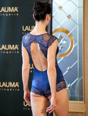 Lauma, Blue Lace Bodysuit, On Model Back, 08H80